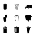 Black garbage icons set vector