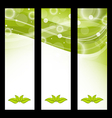 Set wavy nature banners with green leaves vector