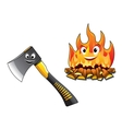 Cartoon axe with a burning fire vector