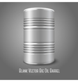 Blank big oil barrel isolated on gray with place vector