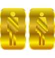 Man and woman restroom golden signs vector
