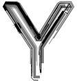 Grunge font letter y vector