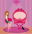 Girl feeds a cat in the house vector