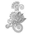 Black line art ornate flower design ukrainian vector