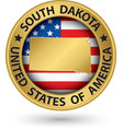 South dakota state gold label with state map vector