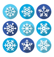 Snowflakes christmas flat design round icons vector