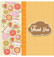 Romantic thank you card with flowers vector