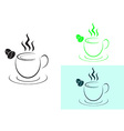 Cup of hot coffee logo sign vector