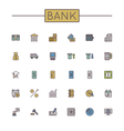 Colored bank line icons vector