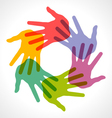 Icon of colorful hand prints vector