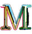 Grunge colorful font letter m vector