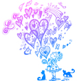 Girl with romantic magic bag and flying hearts vector