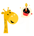 Cute party giraffe with cupcake isolated on white vector