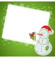 Christmas snowman invitation postcard vector
