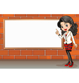 A lady standing beside the empty signboard vector
