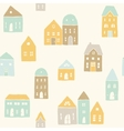 Cute houses pattern vector