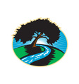 Pecan tree winding river sunrise retro vector
