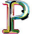 Grunge colorful font letter p vector