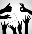 Set of hands silhouettes vector