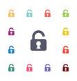 Unlock flat icons set vector