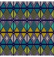 Style seamless knitted patternblue white yellow vector