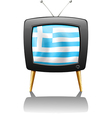 A tv screen with the flag of greece vector