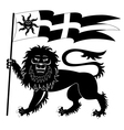 Heraldic lion with banner vector