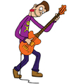 Bass player cartoon vector
