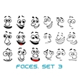 Cartoon doodle faces with different emotions vector