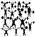 Weightlifter silhouettes vector