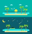 Flat design of summer paradise beach vector