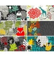 Set of horizontal cards with birds and animals vector