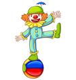 A sketch of a clown balancing above the ball vector