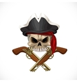 Jolly roger in pirat hat and with pistols vector