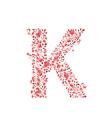 Romantic floral letter k vector