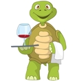 Funny turtle waiter vector