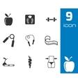 Black diet icons set vector