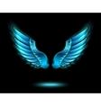 Blue glowing angel wings vector