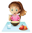 A girl eating breakfast vector