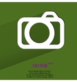 Camera flat modern web button with long shadow and vector