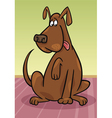 Brown dog sitting on the floor vector