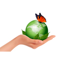 Green world with leaf and butterfly in woman hand vector