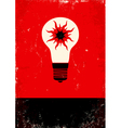 Red and black poster with bulb vector