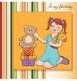 Little girl playing with her birthday gifts happy vector