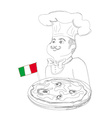 Chef with pizza and italian flag - doodle vector