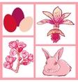 Set of easter rabbit eggs spring flowers vector