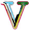 Grunge colorful font letter v vector