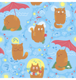 Seamless cute summer cats vector