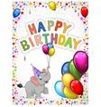 Birthday cartoon with happy elephant vector