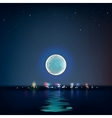 Full blue moon over cold night water vector